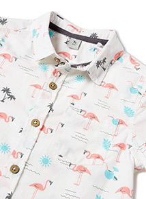 Multicoloured Flamingo Print Shirt (3-14 years)