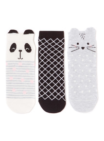 3 Pack Panda Trainer Socks