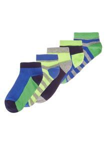 Boys Multicoloured Neon Trainer Socks 5 Pack