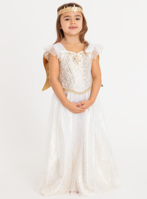 Christmas Gold Angel Dress With Wings (1-10 years)