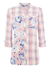 Multicoloured Check Patchwork Shirt