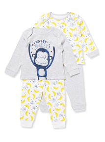 2 Pack Multicoloured Monkey Pyjamas (0-24 months)