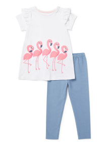 Multicoloured Flamingo T-Shirt and Legging Set (9 months-6 years)