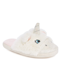 White Unicorn Mule Slippers