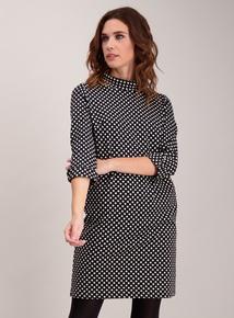 Monochrome Spot Ponte Shift Dress