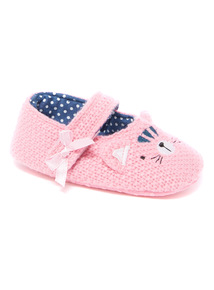 Pink Cat Knitted Slipper (9 - 12 Months)