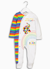 Online Exclusive Elmer White Sleepsuit (Newborn - 18 months)