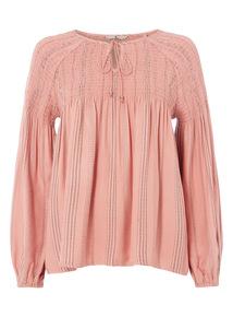 Pink Shirred Yoke Blouse