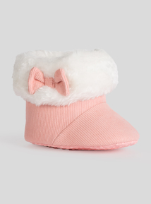 Pink Faux Fur Trimmed Cord Booties (0- 18 Months)