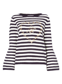 Stripe Mistletoe Print Jumper