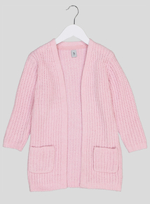 Pink Chenille Long-Sleeved Cardigan (3-14 Years)