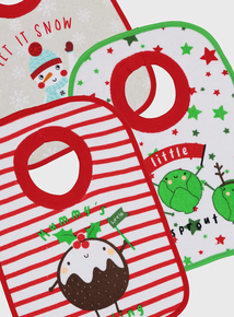 Christmas Themed Pop Over Bibs, 3 Pack (One Size)