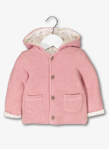 Pink Knitted Lined Cardigan With Hood (0-24 months)