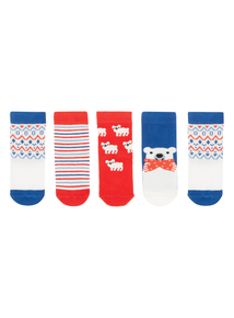 Boys Red Pole To Pole Socks 5 Pack