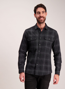 Grey And Black Long Sleeve Overshirt