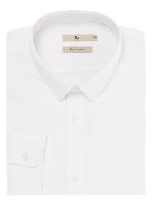 White Slim Fit Shirt with Slim Collar