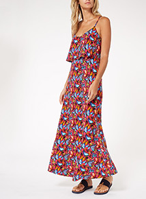 Multicoloured Butterfly Maxi Dress