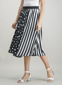 eabc380d4b Monochrome Pleated Spot   Stripe Print Midi Skirt