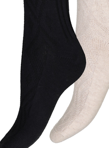 Beige And Black Cable Knit Knee High Socks