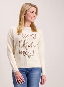 Cream 'Merry Chic-mas' Christmas Jumper