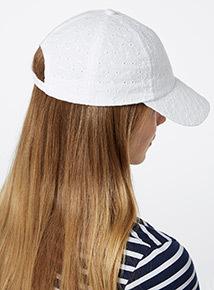 White Embroidered Baseball Cap