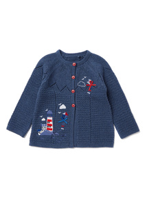 Navy Lighthouse Embroidered Knitted Cardigan (0-24 months)