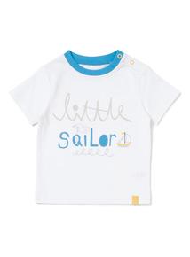 White Printed Sailor T-shirt (0-24 months)