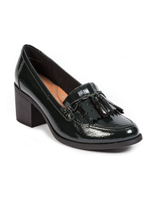 Sole Comfort Dark Green Patent Court Shoes