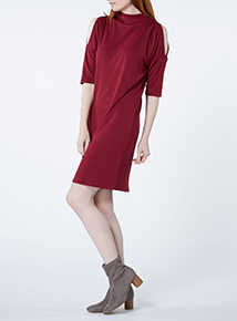 Red Side Arm Detail Dress