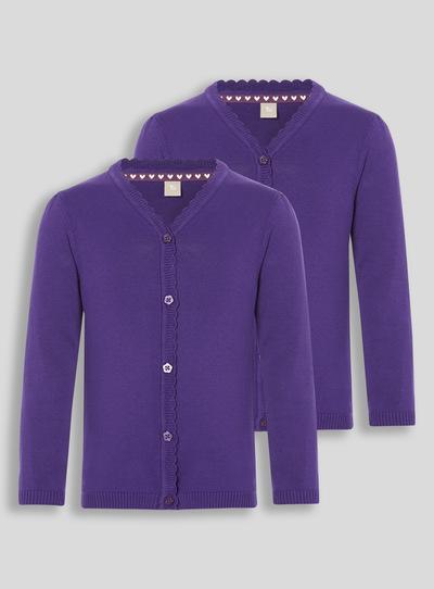 Kids Purple Scalloped Cardigan 2 Pack 3 12 Years Tu