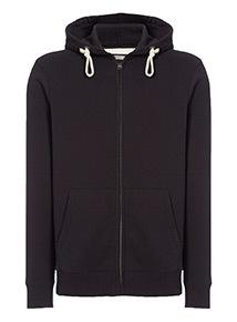 Black Zip Through Hooded Sweat