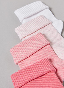 4 Pack Pink Roll Top Socks (1-24 months)