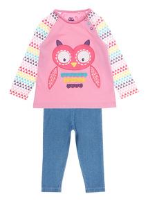 Girls Pink Owl Tee & Jeggings Set (0 -24 Months)