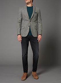 Grey Herringbone 100% British Wool Slim Fit Jacket