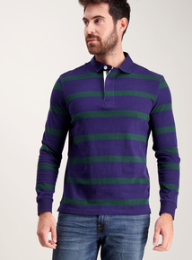 Navy And Green Stripe Rugby Top