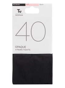 4 Pack 40 Denier Opaque Tights