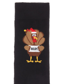Black 1 Pack Christmas Turkey Socks