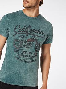 Teal California Bike Logo Tee