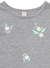 Grey Floral Embroidered T-Shirt (3-14 years)
