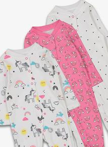 49407cd2d Pink & White Unicorn Print Sleepsuit 3 Pack (Newborn - 24 Months)