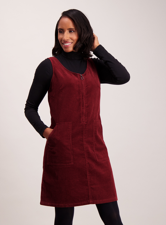 99075a5f40d Womens Online Exclusive Burgundy Corduroy Pinafore Dress