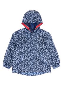 Girls Navy Floral Showerproof Mac Coat (3-12 years)