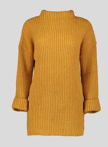Mustard Chunky Knit Funnel Neck Tunic