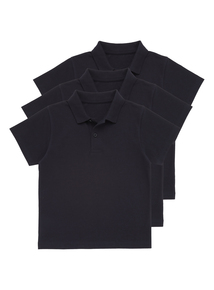 Unisex Navy Cotton Rich Polo Tops 3 Pack (2-12 Years)