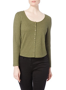 Khaki Plain Button Through Top