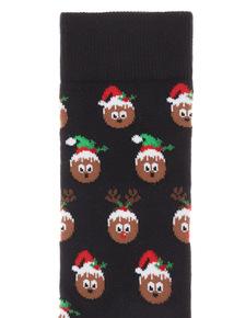 Black 1 Pack Christmas Pudding Novelty Socks