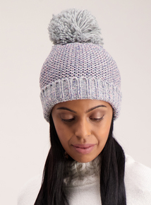 Grey & Pink Cable Knit Pom-Pom Hat