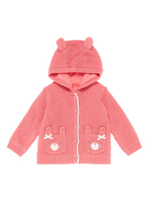 Girls Pink Bunny Knitted Cardigan (0-24 months)