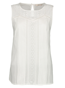White Embroidered Shell Top