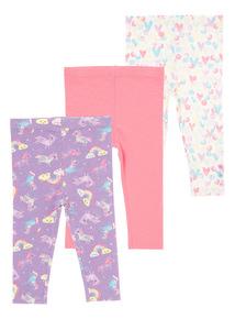 Girls Multicoloured Rainbow Leggings 3 Pack (0 - 24 months)